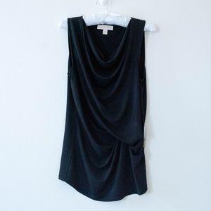 Michael Kors Dressy Black Drape Neck Tank Top